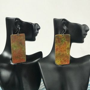 Green and Bronze Textured Earrings